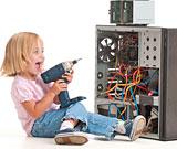 girl servicing computer