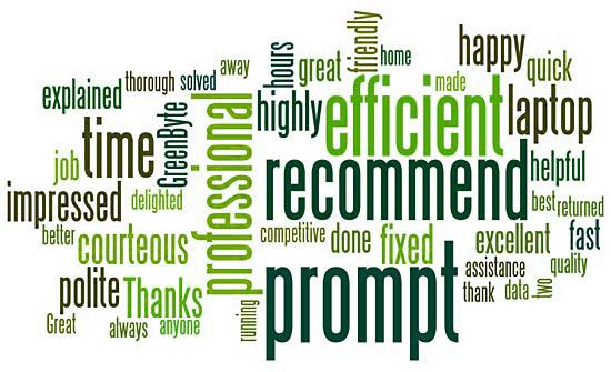Green Byte computer repairs customer reviews